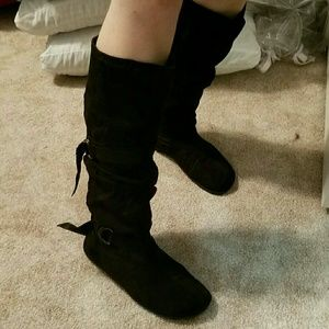 Black suede knee high boots